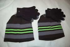 Boys Gray /& Yellow Skull Winter Trapper Hat /& Touch Screen Gloves Beanie Set