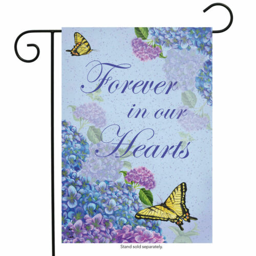 "FM161 FOREVER IN OUR HEARTS BEREAVEMENT CEMETERY  12/""x18/"" GARDEN FLAG BANNER"