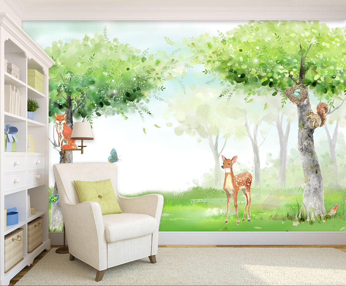 3D Two trees, deer 3677 Wall Paper Print Wall Decal Deco Indoor Wall Murals