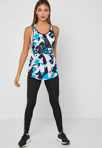 Detalles de Adidas Mujer Camiseta de Tirantes Fitness Id Estampado Correr  Gimnasio Entrenar