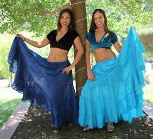 Belly-Dance-Skirt-Turquoise-Blue-elastic-waist-long-floor-length-broom-stick