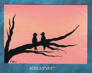 Original-ACEO-Lovebirds-miniature-acrylic-painting-not-framed