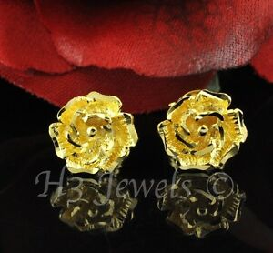 Details About 2 60 Gram 18k Solid Yellow Gold Flower Rose Stud Earring Earrings H3jewels 2744