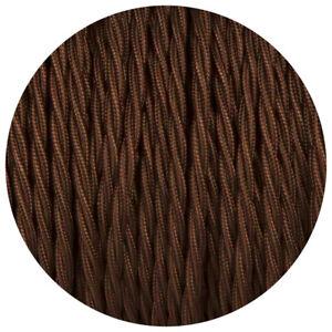 2-Nucleo-Retorcido-Electrico-Cable-Marron-Oscuro-Color-Tela-0-75mm