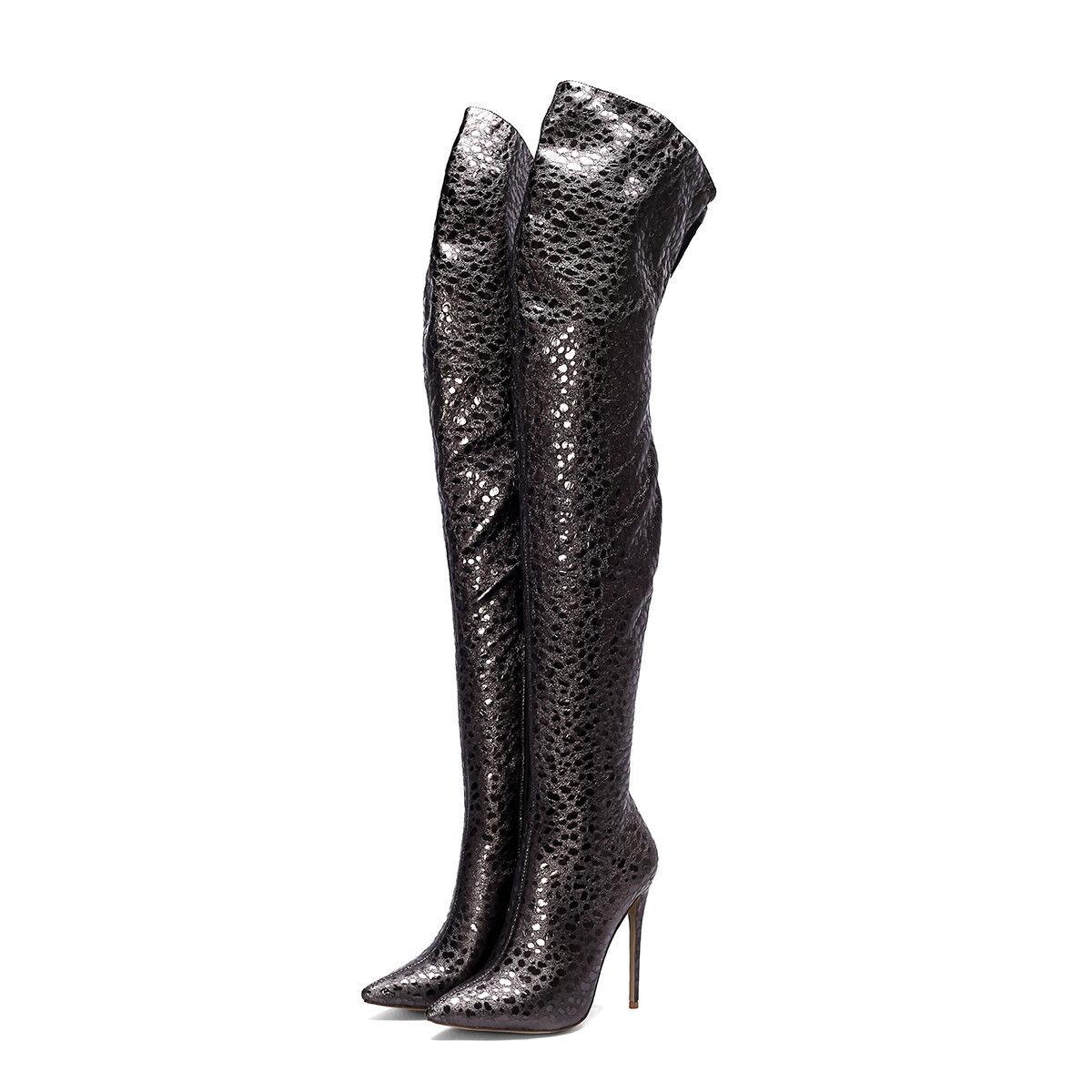 donna Over-knee High stivali High Heels Pointed Toe Fashion Club Stiletto scarpe