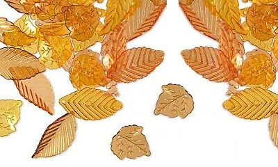 50 Assorted Yellow Orange Brown Plastic Acrylic Fall Leaf Charm Beads In A Mix