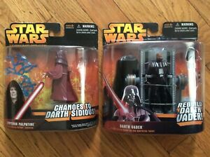 2 Star Wars Revenge Of The Sith Figures Emperor Palpatine Darth Vader 653569018834 Ebay
