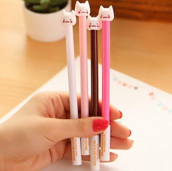 FD904 Funny Stationery Pen Cute Cat Head Ball Point Pen ~Random Color~ 1PC