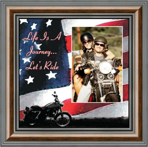 *NEW* Life/'s a Journey Harley Davidson Motorcycle with American Flag 10X10 9751