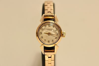 "VINTAGE RARE EARLY SMALL USSR RUSSIA GOLD PLATED LADIES""CHAIKA""WATCH/RELIEF DIAL"