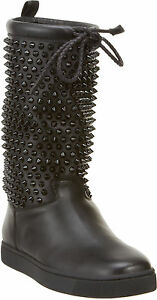 ef45910c9b09 100% AUTH NEW WOMEN LOUBOUTIN SURLAPONY FLAT BLACK SPIKE BOOTS US ...