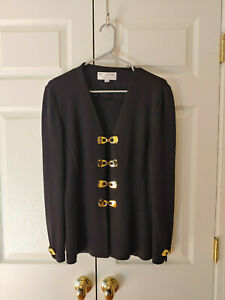 Women-St-John-Collection-Marie-Gray-Black-Gold-Buckle-Sweater-Jacket-Size-10