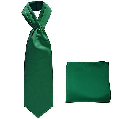 New polyester solid men/'s full ASCOT cravat necktie set wedding Emerald Green
