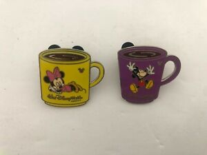 WDW-Cast-Lanyard-Collection-Coffee-Mugs-Minnie-Mickey-Mouse-Disney-x2-pins