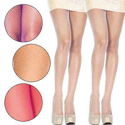 1-4 PC Fishnet Net Glitter Sparkle Spandex Pantyhose Tights Shimmer Gold Silver