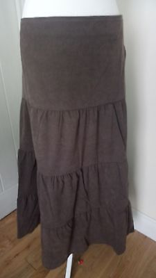 Bnwt 'simply Be' Casual Comfort Stretch Tiered Chocolate Suede Skirt Size 18 Skirts Women's Clothing