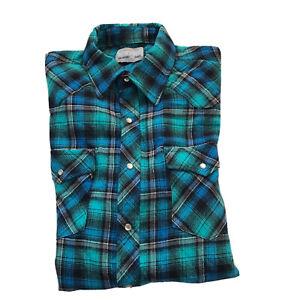 Wrangler-Wrancher-Shirt-Pearl-Snap-Flannel-Plaid-Western-Rodeo-Cowboy-XL-2XL