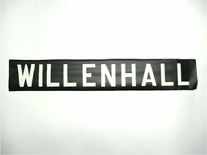 Vintage-1973-screen-printed-linen-Bus-destination-blind-Willenhall