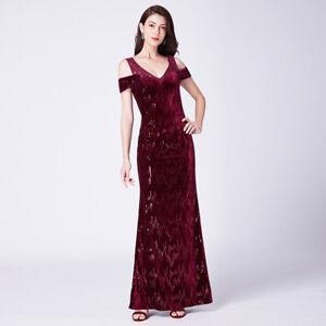 3503fcc8dd8 Details about Ever-Pretty Cold Shoulder Bridesmaid Dress Burgundy Long  Evening Sequins 07396