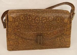 Image Is Loading Vintage Brown Lizard Skin Bag Handbag