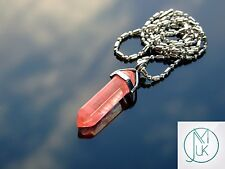 Cherry Quartz Crystal Point Pendant Manmade Gemstone Necklace with Chain