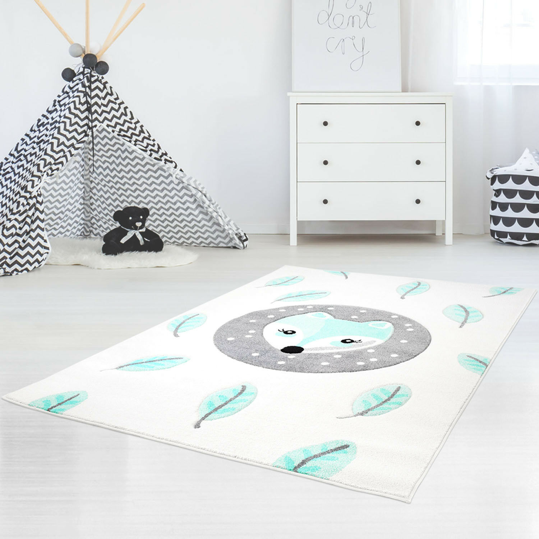 Bambini tappeto di alta qualità contorni taglio lucentezza filati con volpe in Mint, Bianco