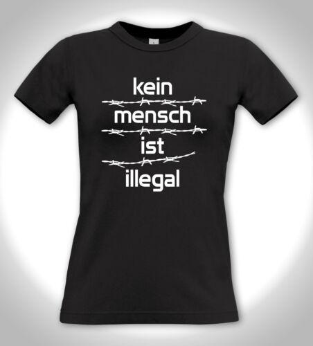 Punk Hardcore Antifa Refugees Welcome 2 -Girlie Shirt KEIN MENSCH IST ILLEGAL!