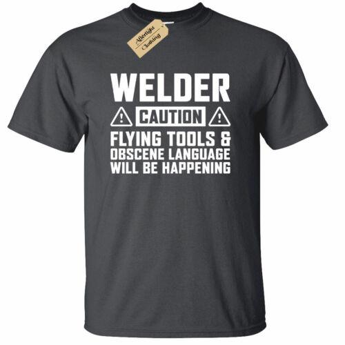 Mens Caution WELDER T-Shirt funny welders gift present