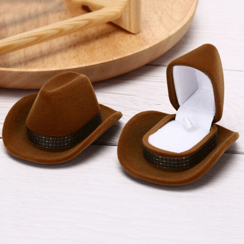 Cowboy Hat Shape Velvet Display GiftBox Jewelry Case For Necklace Earring RPRNK