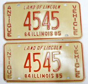 Image is loading VINTAGE-1984-85-ILLINOIS-ANTIQUE-VEHICLE-LICENSE-PLATES-  sc 1 st  eBay & VINTAGE 1984 -85 ILLINOIS ANTIQUE VEHICLE LICENSE PLATES PAIR # 4545 ...