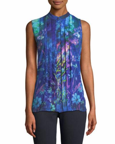NEW T Tahari Women/'s Aliza Sleeveless Blouse Blueberry MSRP $128.00