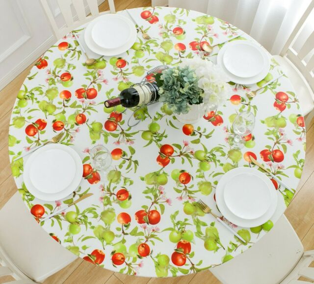 Vinyl Tablecloth Round Fitted Elastic Flannel Gingham Check Plaid Round Tables