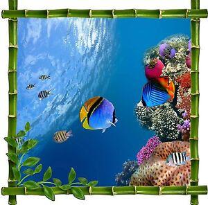 Wandsticker Deko Bambus Fische Tropischer Ref 5213 Ebay