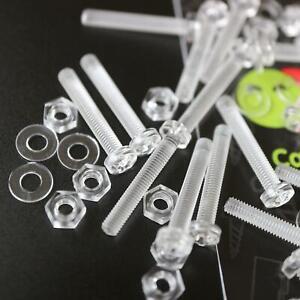 20-x-Acrilico-Bulloni-e-Dadi-M3-x-20mm-in-Plastica-Trasparente-Acrilico-Viti