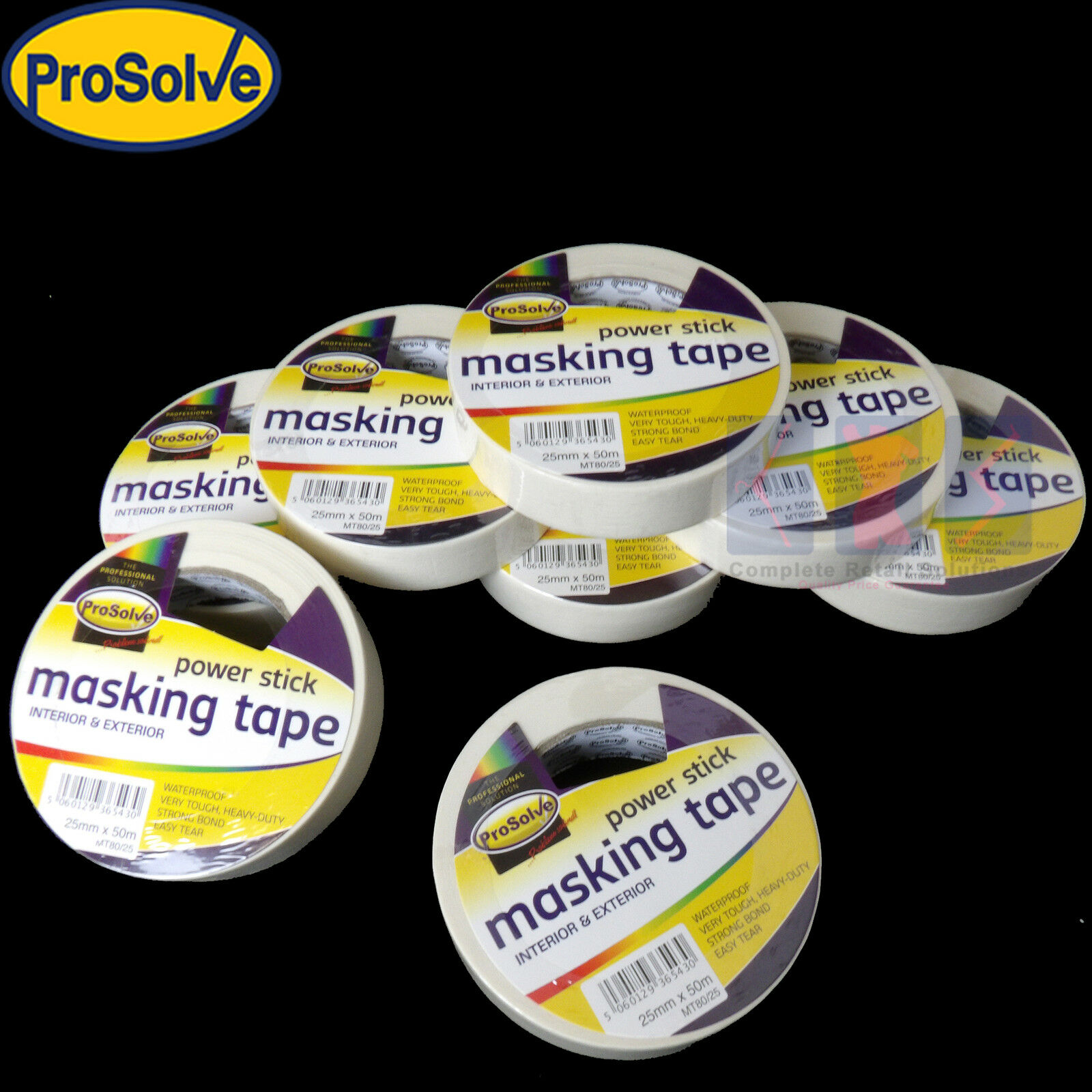Prosolve masking tape 25mm x 50m indoor outdoor general purpose decorating new ebay for Exterior masking tape