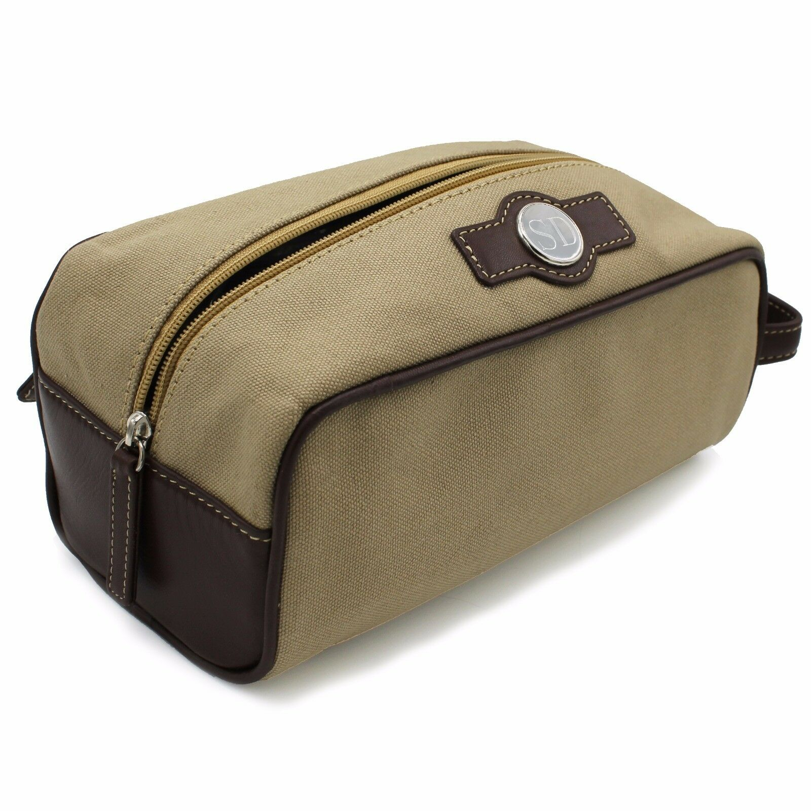 Waxed Cotton Canvas shave and toiletries dopp kit bag with leather handlethe
