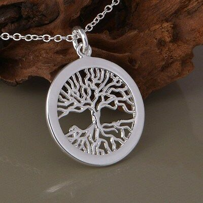 925 Stamped Silver Plated Tree of Life Pendant Necklace Chain Women Jewelry UK