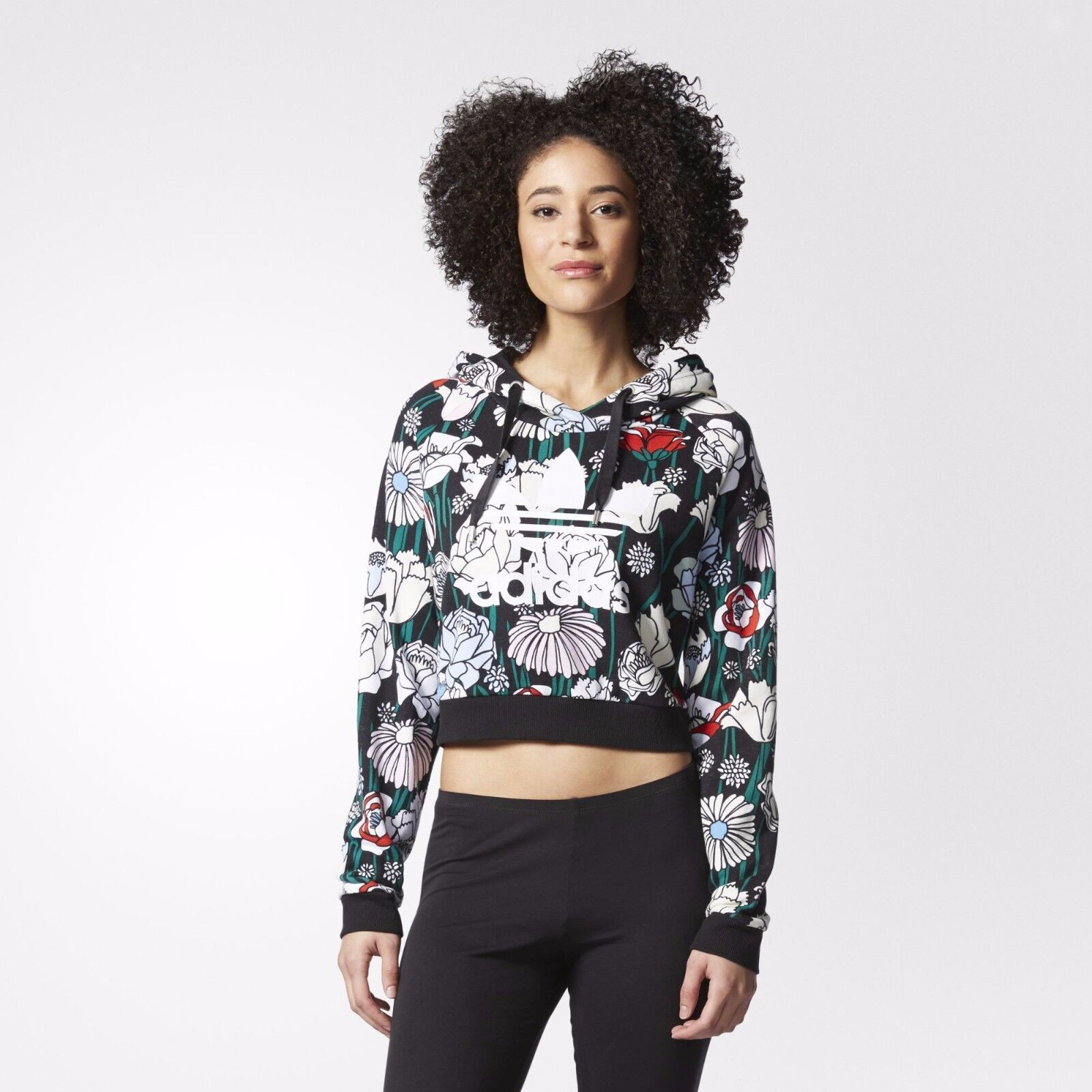 Adidas Originals W Floral New Green Crop Hoodie Size New Floral (662) ccc890