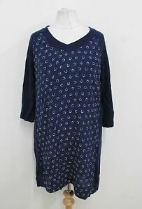 FRENCH-CONNECTION-Ladies-Dark-Navy-Blue-White-Horseshoe-Print-Long-Blouse-S