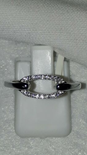 925 STERLING SILVER RHODIUM PLATED SAPPHIRE DRESS RING SZ 6 7 8 9