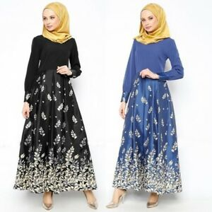 f439b851360 Muslim Floral Abaya Kaftan Islamic Women s Cocktail Long Sleeve Maxi ...