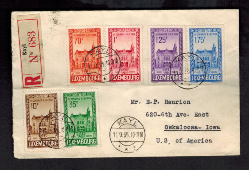 1935 Kayl Luxembourg to USA Registered Cover Comp Set # 200205