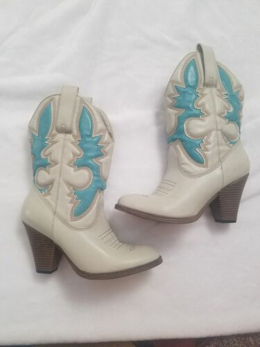 cream and blue cowboy boots