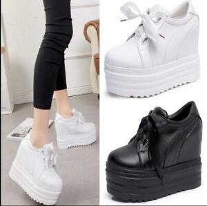 Womens-Platform-Wedge-15cm-Heel-Pumps-Casual-Sneakers-Creeper-Leather-Shoes-HOT
