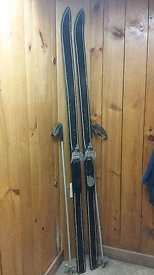 "OLD Wooden Skis 80"" Long With Interesting Character Metal Bindings + Metal Poles"
