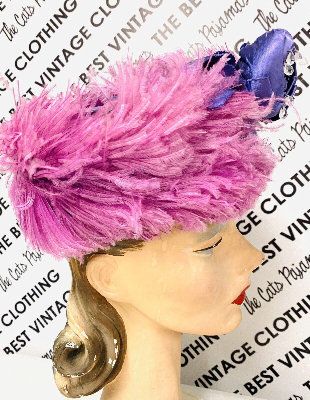 VINTAGE 1940's SUZY LEE Purple Feather Flowers Ha… - image 8