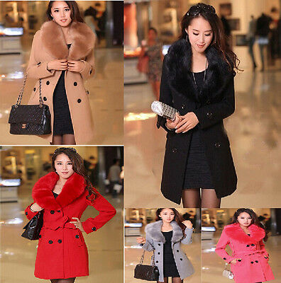 New Womens Wool Faux Fur 2017 Trench Parka Double-Breasted Winter Coats Jackets