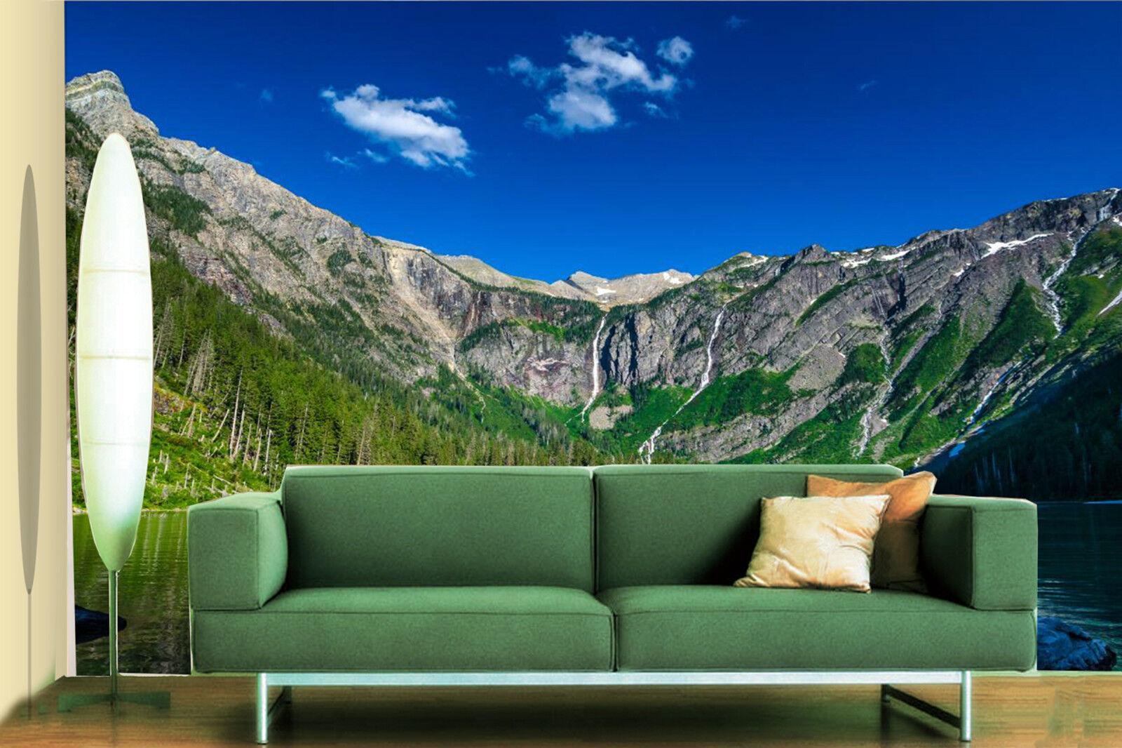 3D Bergen und Wasser  Fototapeten Wandbild Fototapete Bild Tapete Familie Kinder