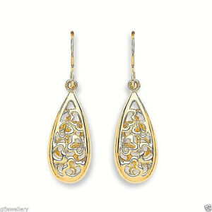 9ct Yellow Gold Feather Drop Hook Earrings