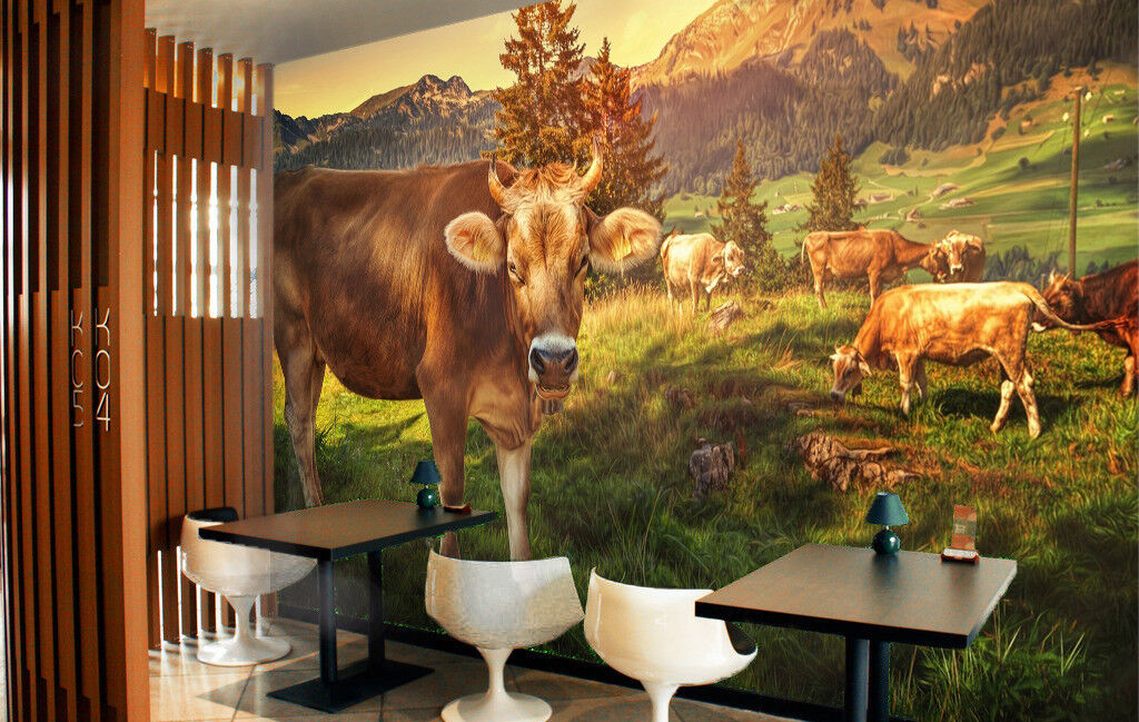 3D Lawn Cattle 421 Wallpaper Murals Wall Print Wallpaper Mural AJ WALL UK Summer